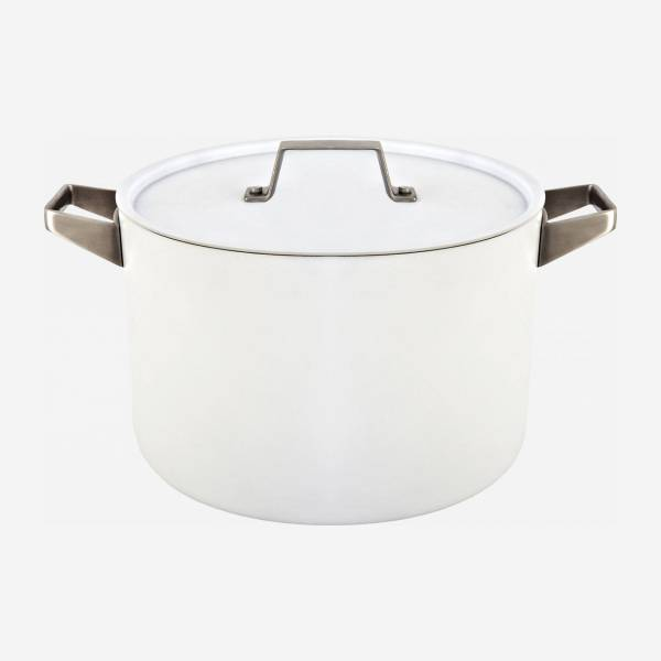 White aluminium pot and lid 26 cm with inner coating in ceramic