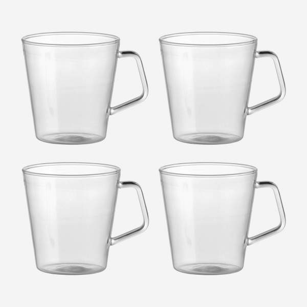 Set de 4 mugs en verre
