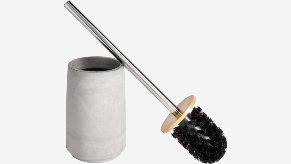 Concrete, wood and metal toilet brush