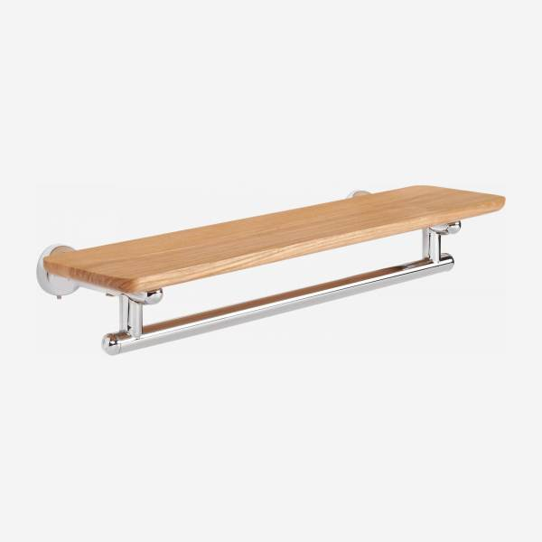 Towel holder shelf 50cm made in beechwood and stainless steel
