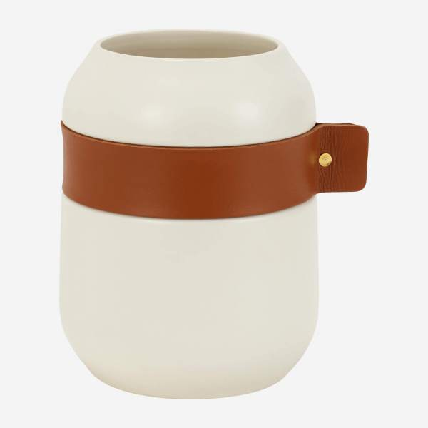 Ceramic vase and leather 20cm