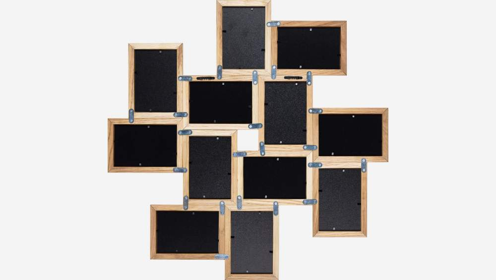 Oak 12-picture wall frame - 10 x 15 cm - Natural