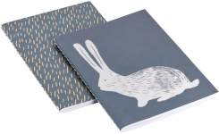 Notebook A5, beige with bunny patterns