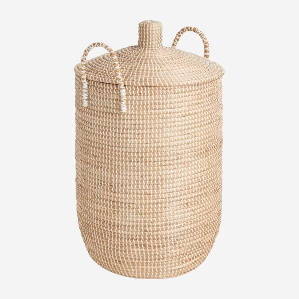 Basket 70cm with cover made of seagrass