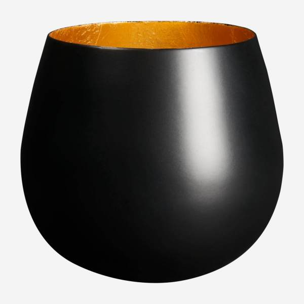 Candle holder made of metal, black and golden