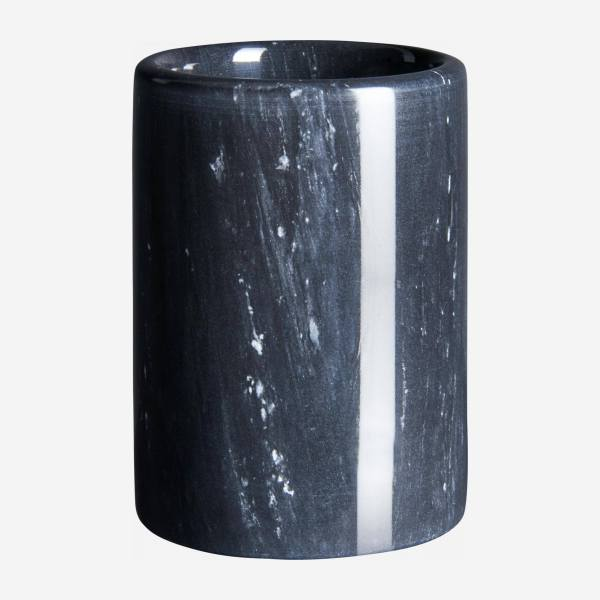 Bathroom tumbler made of marble, black