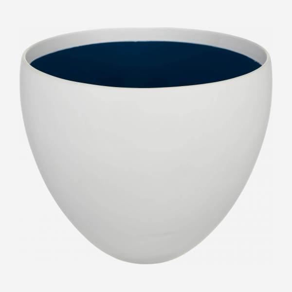 Stoneware Planter White with Blue Inside L