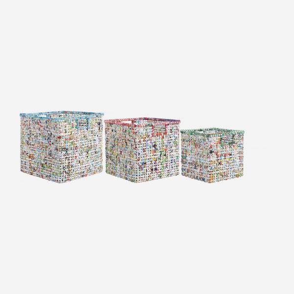 Set de 3 cestas de papel reciclado - Multicolor