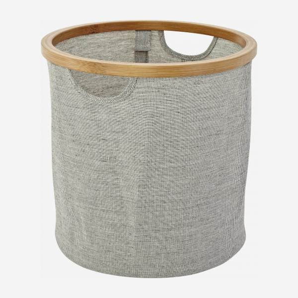 Bamboo and fabric round laundry basket - Grey - 30 cm