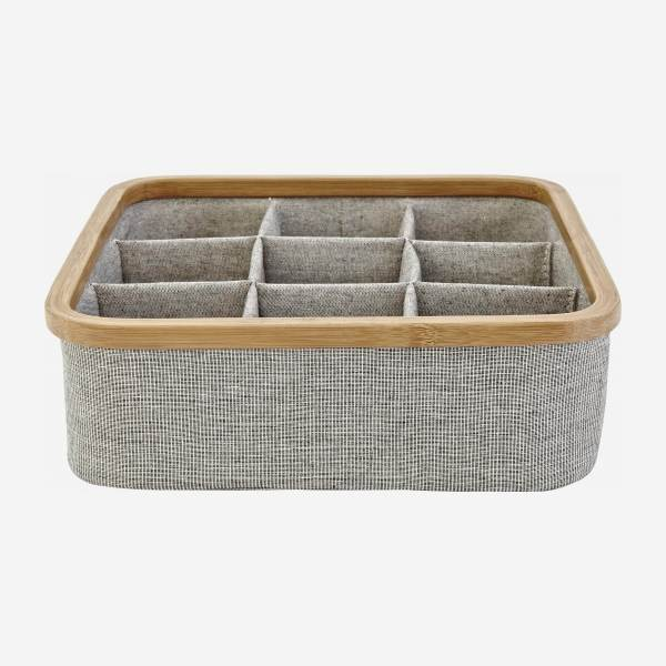 Bamboo and fabric 9-compartment storage basket - Grey