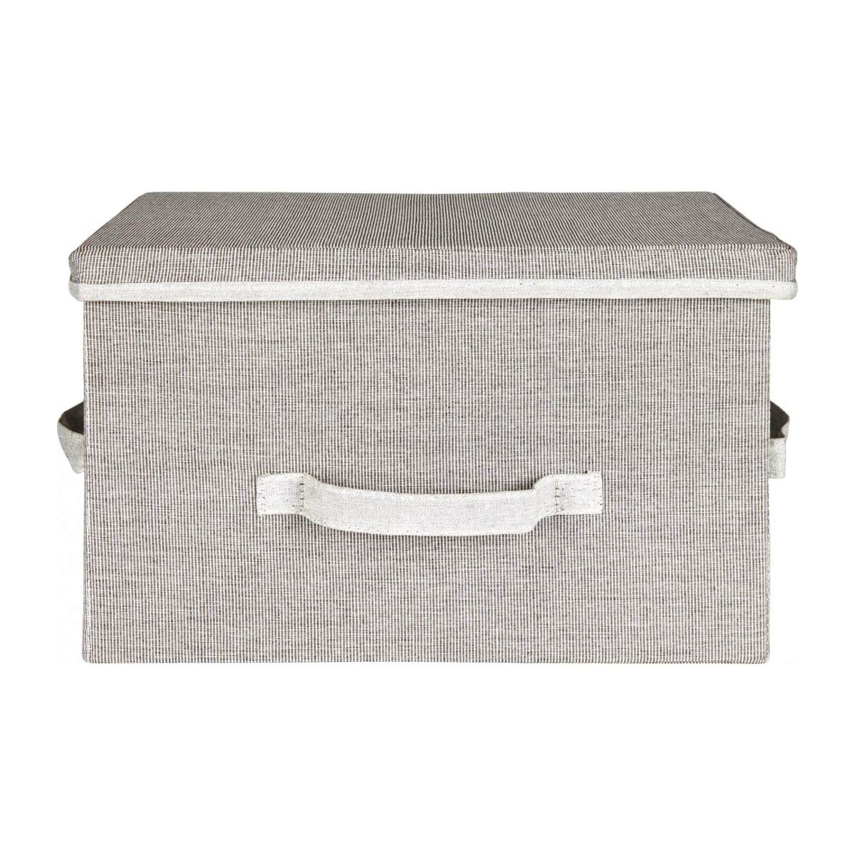 Large Storage basket, grey fabric and bamboo n°2