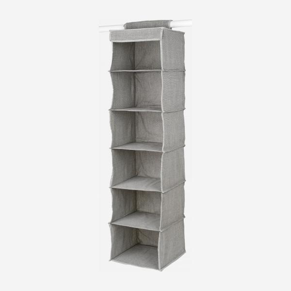 Fabric hanging storage 6 compartments - Grey