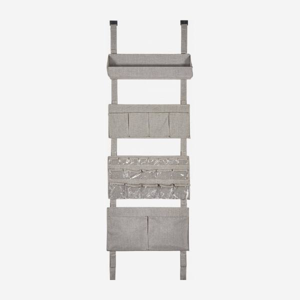 Wall modular storage with pockets, grey fabric and bamboo