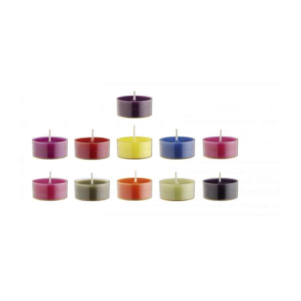 Bougies chauffe–plat multicolores x30