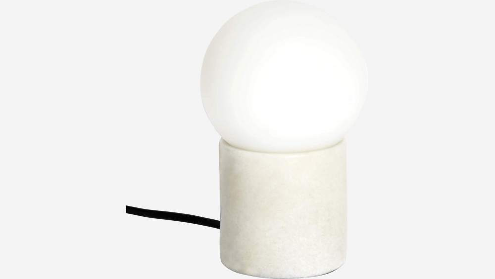 Frosted glass 16.5cm table lamp with marble base