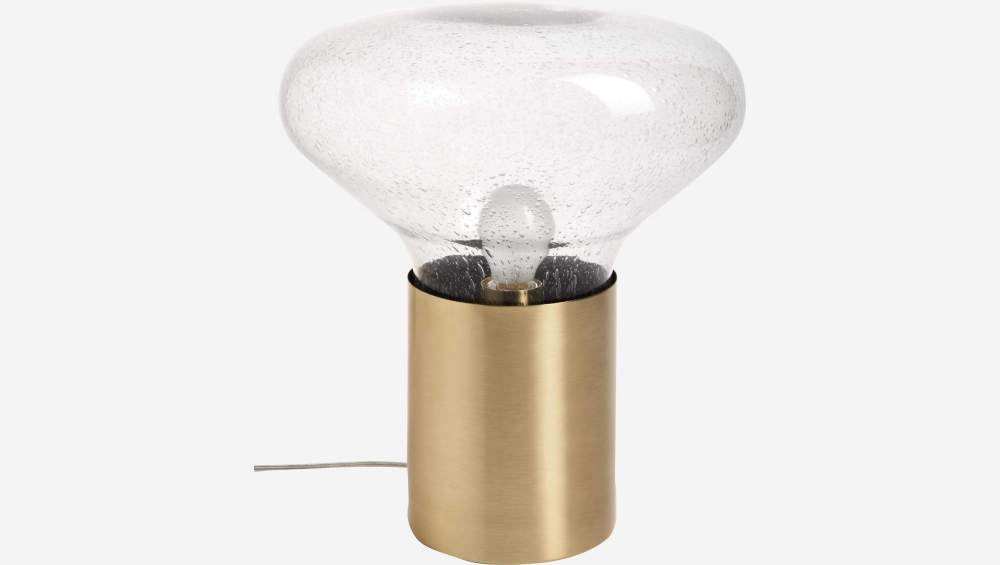 Smoked glass 42.5cm table lamp with golden brushed brass base