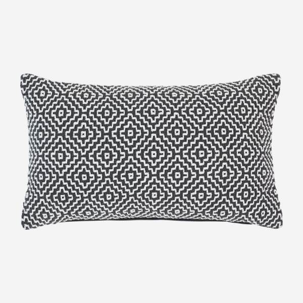 Cushion 30x50cm with black and white motifs