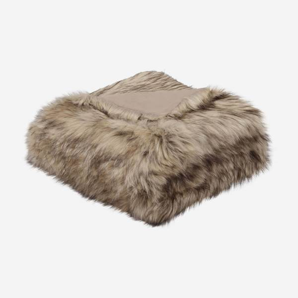Fake fur throw 130x170,, beige