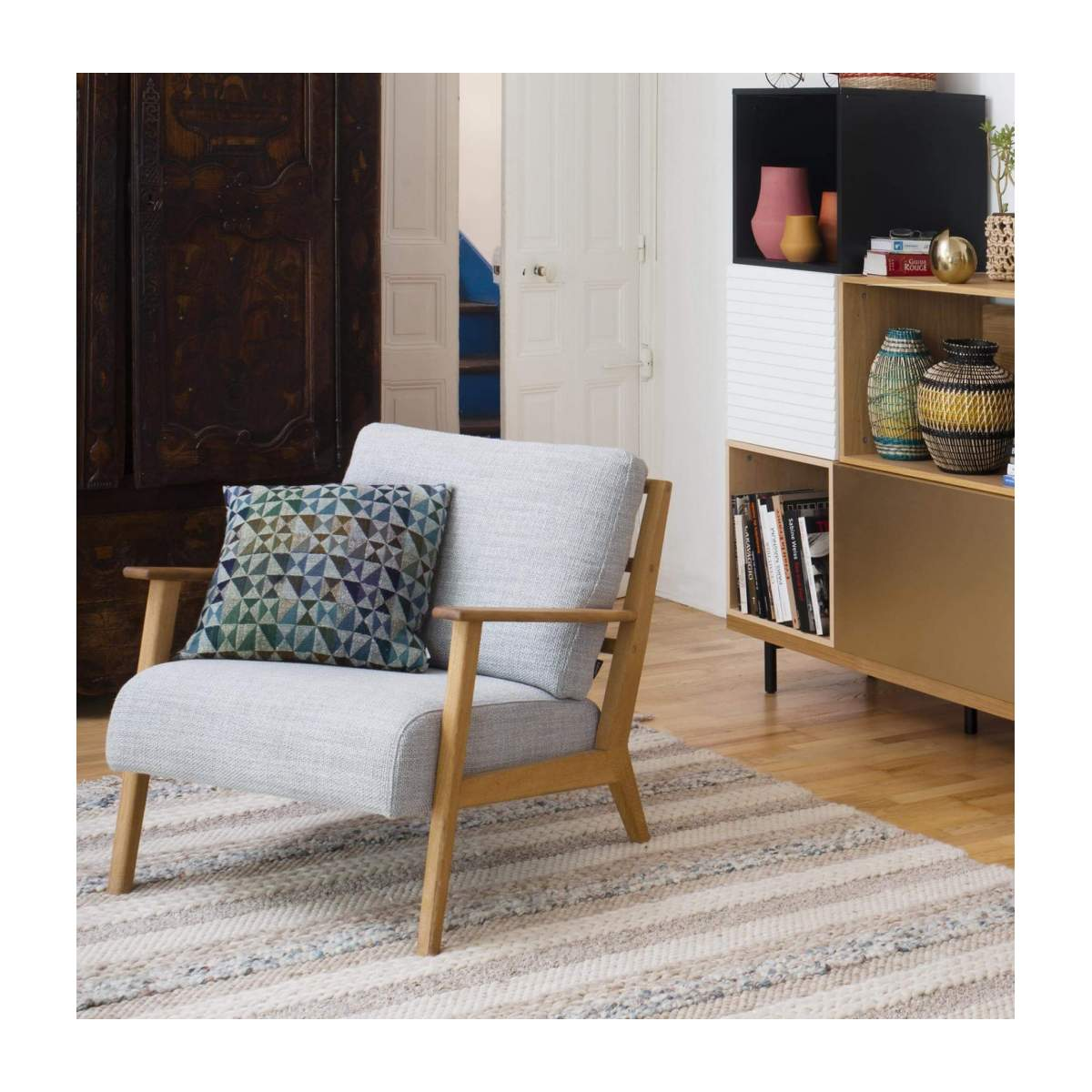 Cushion 45x45, with multicolored patterns n°1