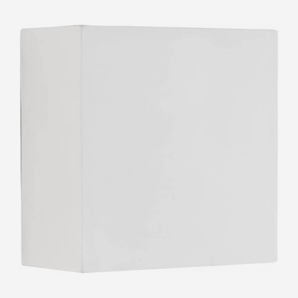 Square led wall light made of gypsum, white