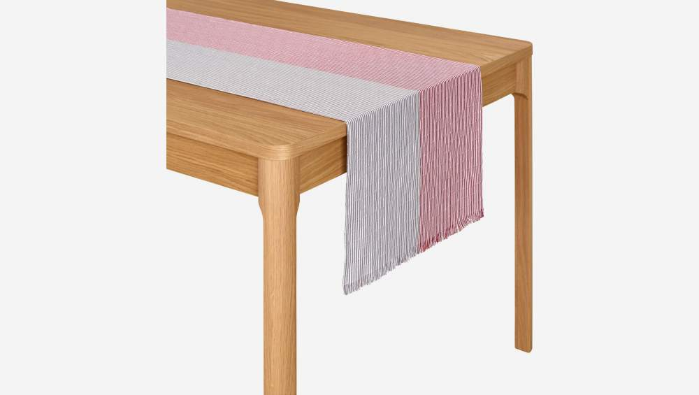 Chemin de table en coton - 45 x 200 cm - Rouge et Taupe