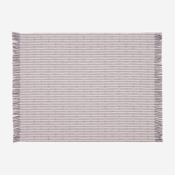 Placemat with stripes made of cotton 30x40cm, red &, brownish-grey