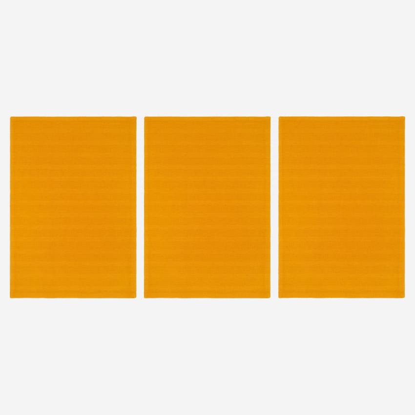 Set of 3 kitchen towels made of cotton, yellow mustard