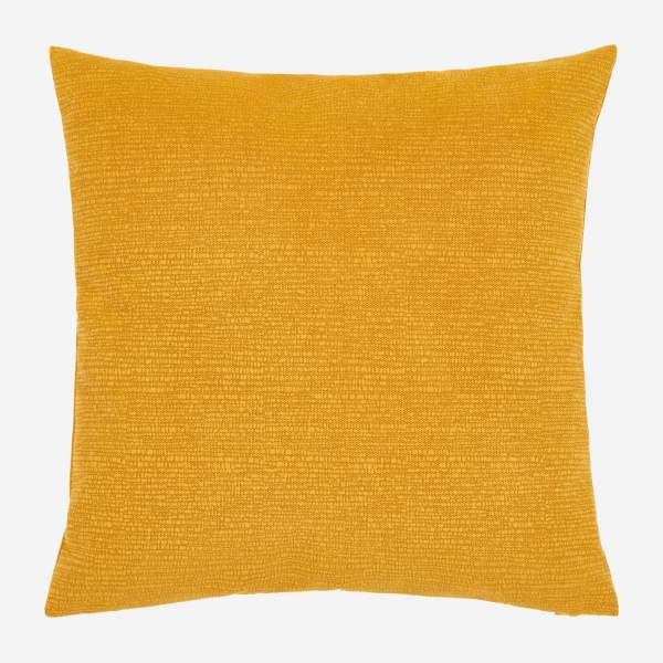 Cushion made of textured velvet 45x45cm, yellow