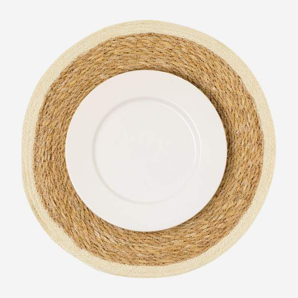 Set de table rond en jute et jonc de mer - Naturel - 44 cm