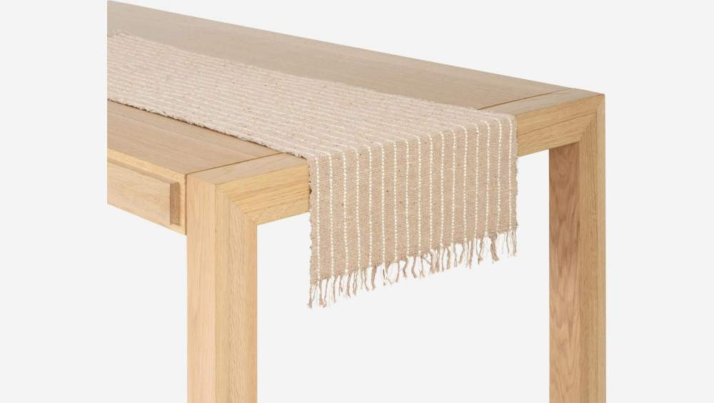 Travers de table réversible en coton - 40 x 140 cm - Naturel