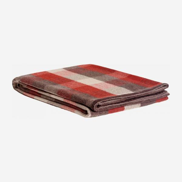 Plaid aus Wolle - 130 x 170 cm - Karomuster in Rot
