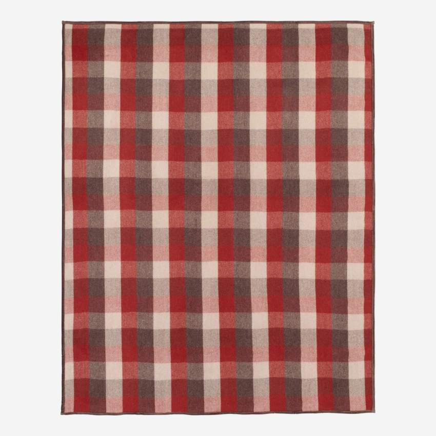 Plaid en laine - 130 x 170 cm - Motif à carreaux rouge