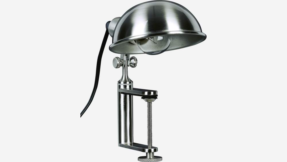 Silver steel desk lamp with clamp