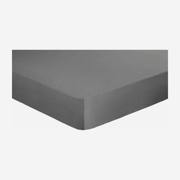Cotton fitted sheet - 140 x 200 cm - Grey