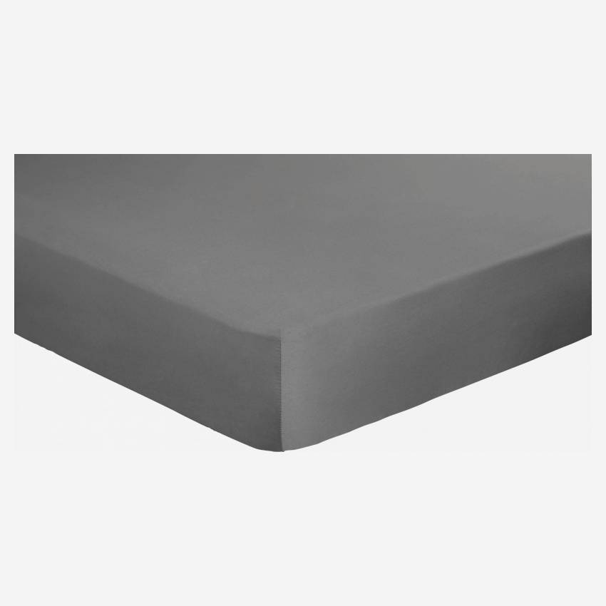 Cotton fitted sheet - 160 x 200 cm - Grey