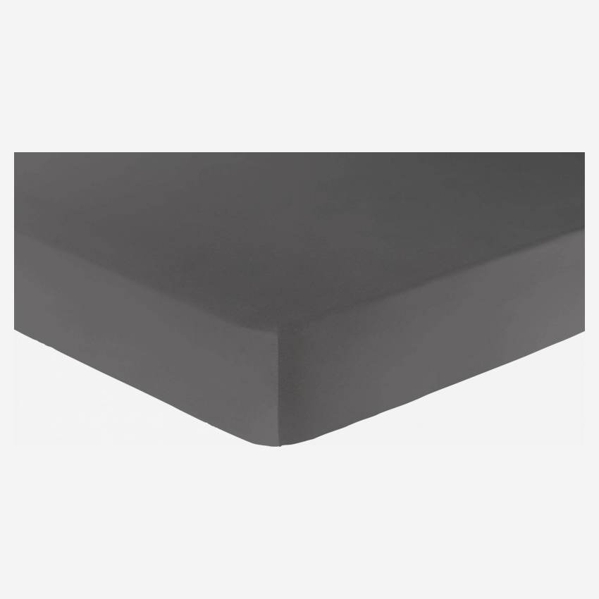 Cotton fitted sheet - 180 x 200 cm - Grey
