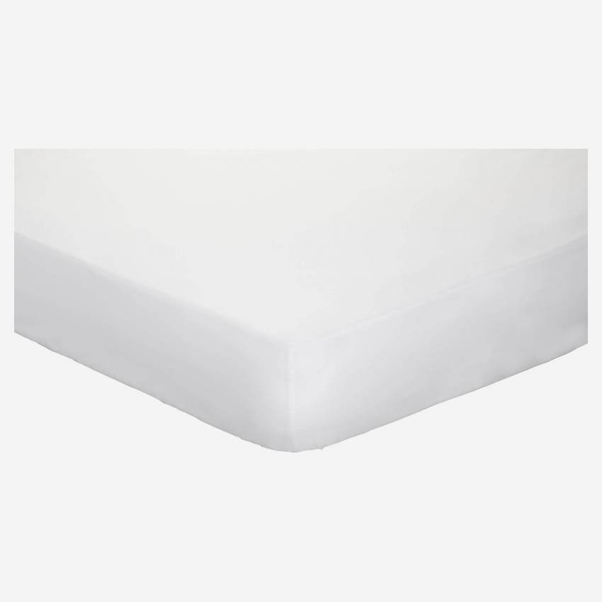 Cotton fitted sheet - 140 x 200 cm - White