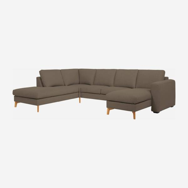 Sofá 2 plazas con sillón y chaiselongue derecha de tela color topo - confort medio