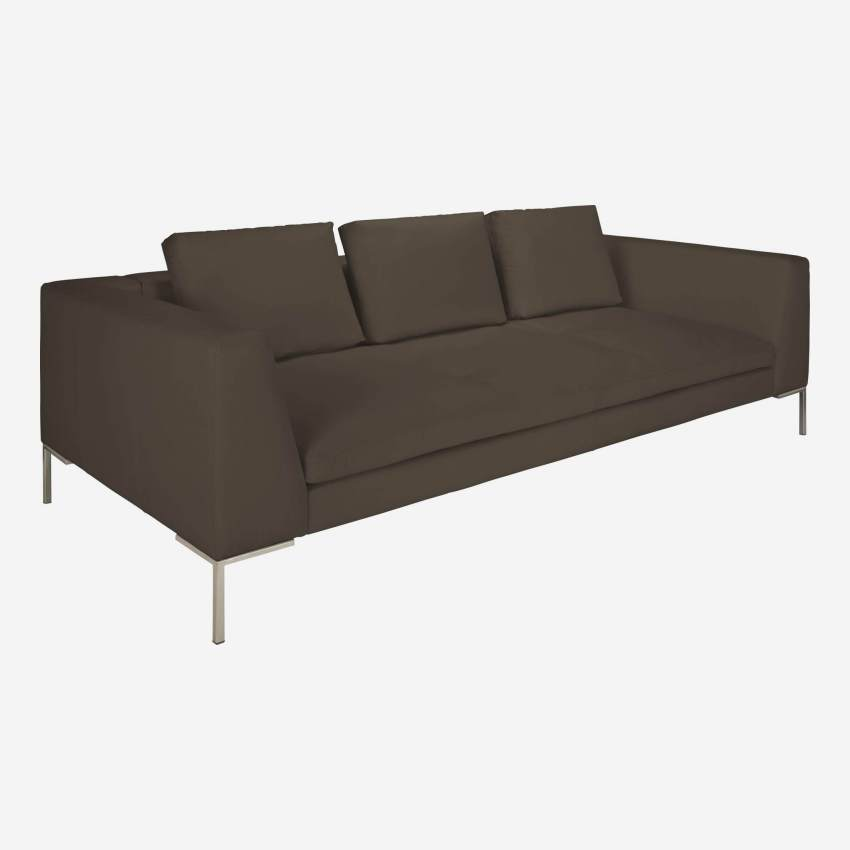 3 seater sofa in Eton veined leather, stone