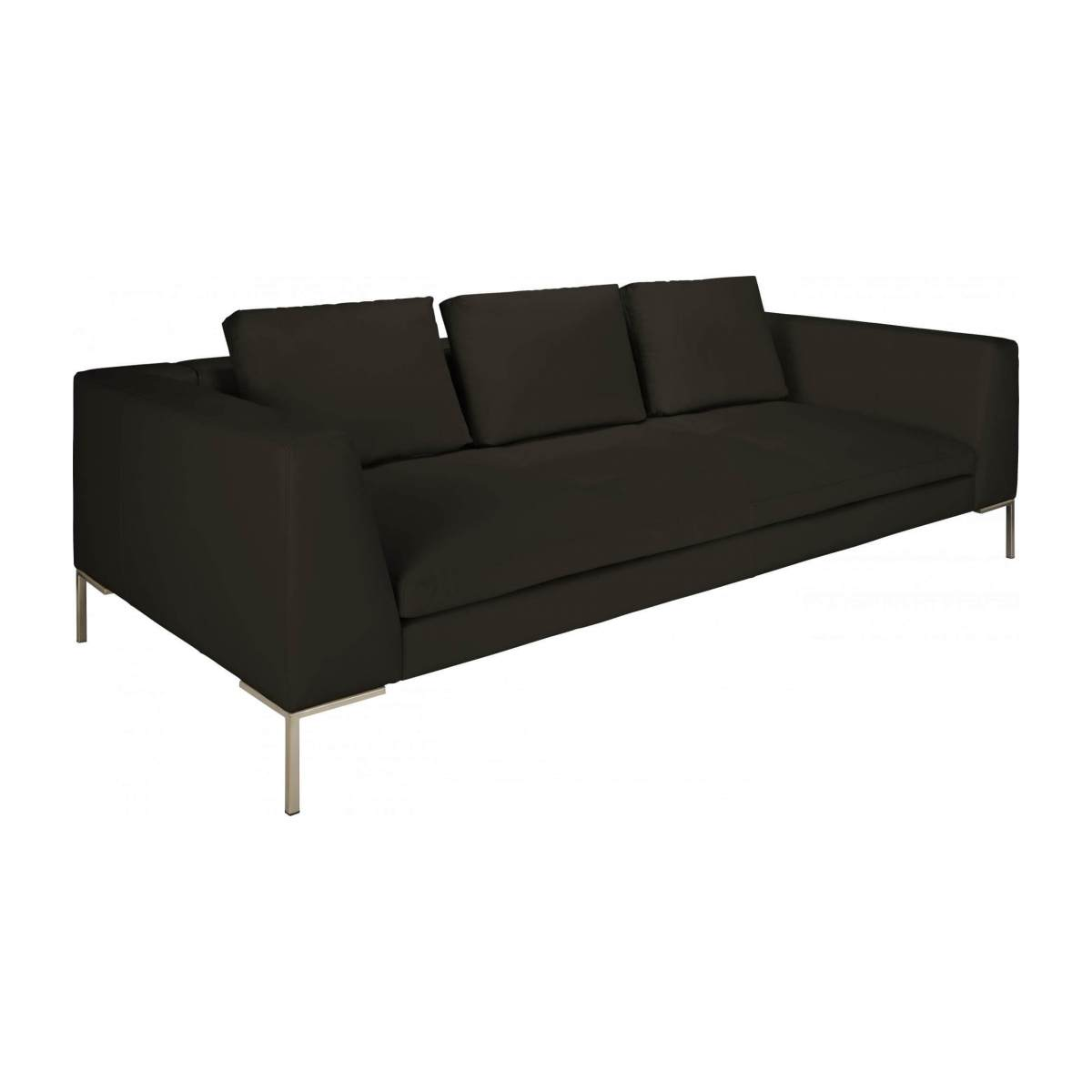 3 seater sofa in Eton veined leather, brown n°3