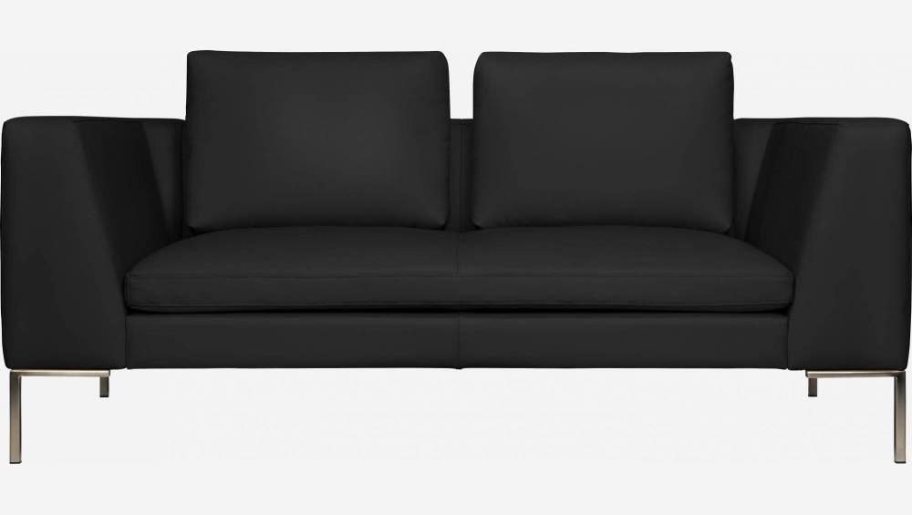 2 seater sofa in Eton veined leather, black