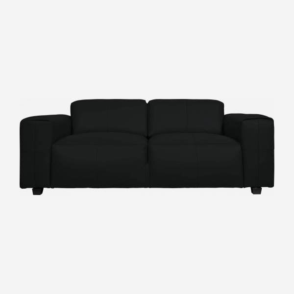 4 seater sofa in Savoy semi-aniline leather, platin black