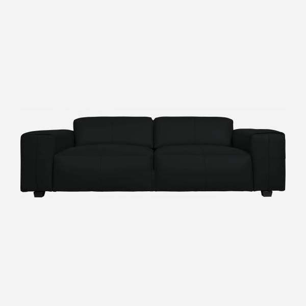 2 seater sofa in Savoy semi-aniline leather, platin black