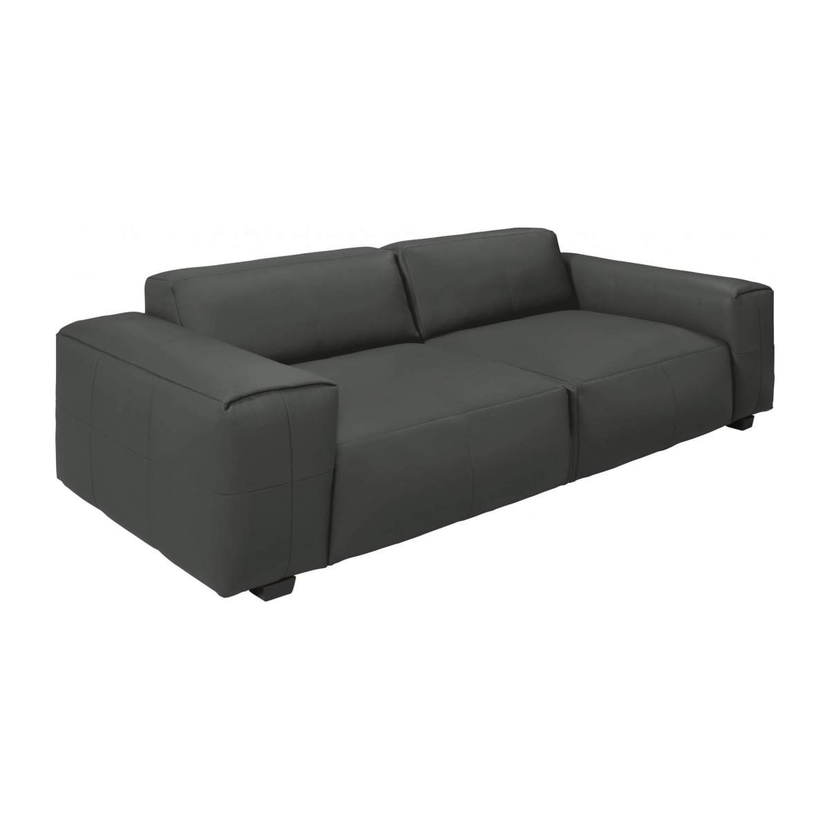 2 seater sofa in Savoy semi-aniline leather, grey n°4