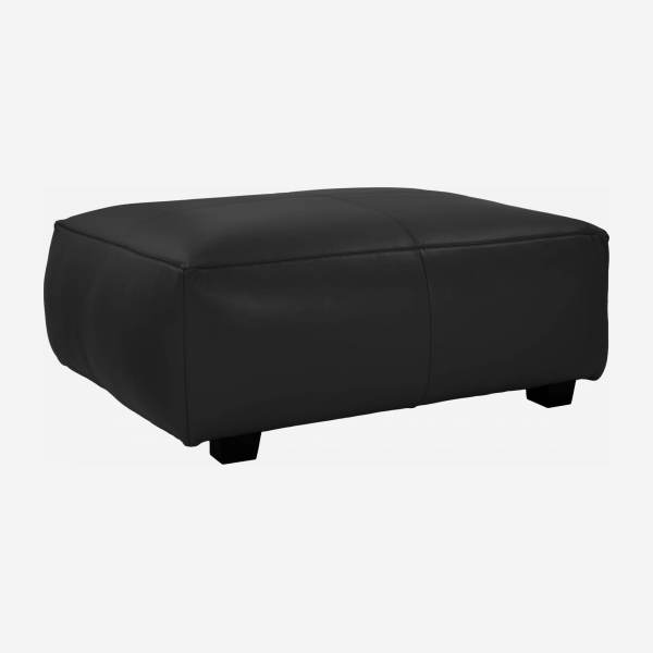 Footstool in Savoy semi-aniline leather, platin black