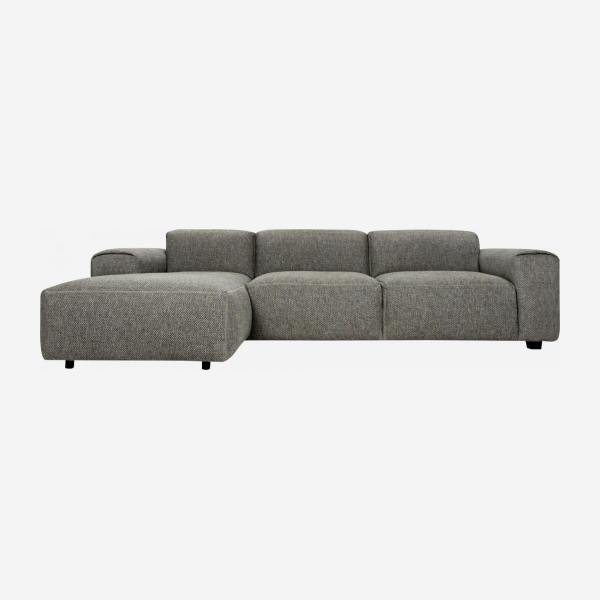 Sofá 3 plazas con chaiselongue izquierda de tela Bellagio night black