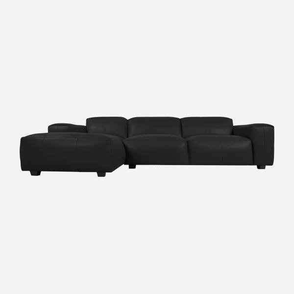 3-Sitzer Sofa mit Chaiselongue links aus Semianilinleder Savoy platin black
