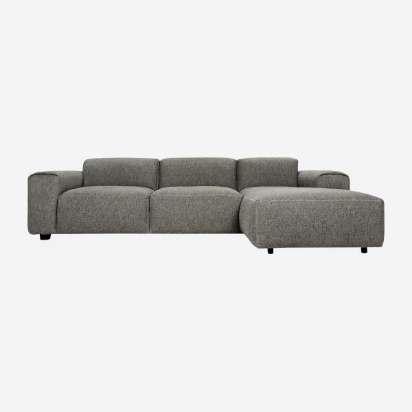 Sofá 3 plazas con chaiselongue derecha de tela Bellagio night black