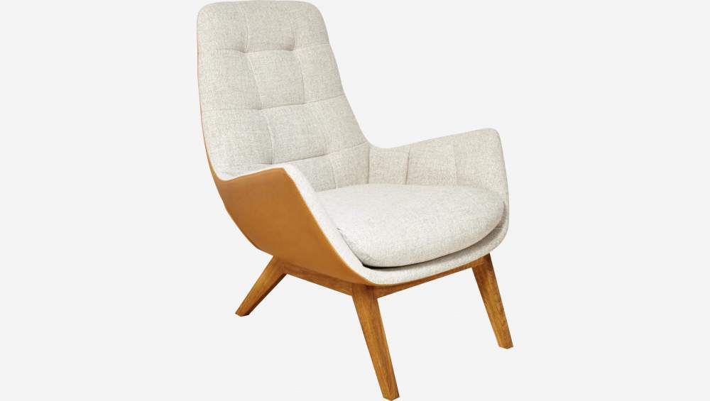 Armchair in Lecce fabric, nature and brown vintage leather with oak legs