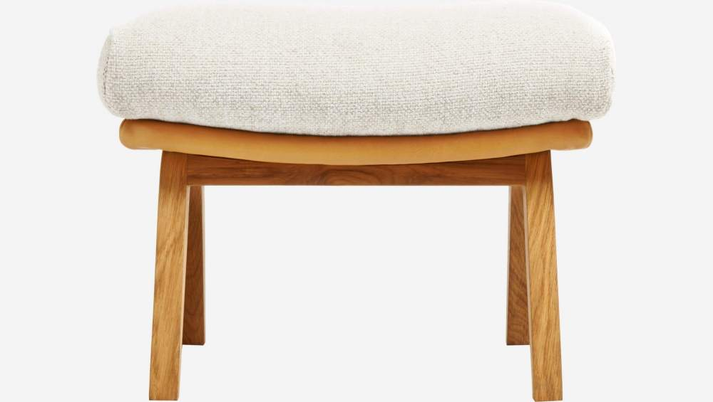 Footstool in Ancio fabric, nature et cuir marron with oak legs